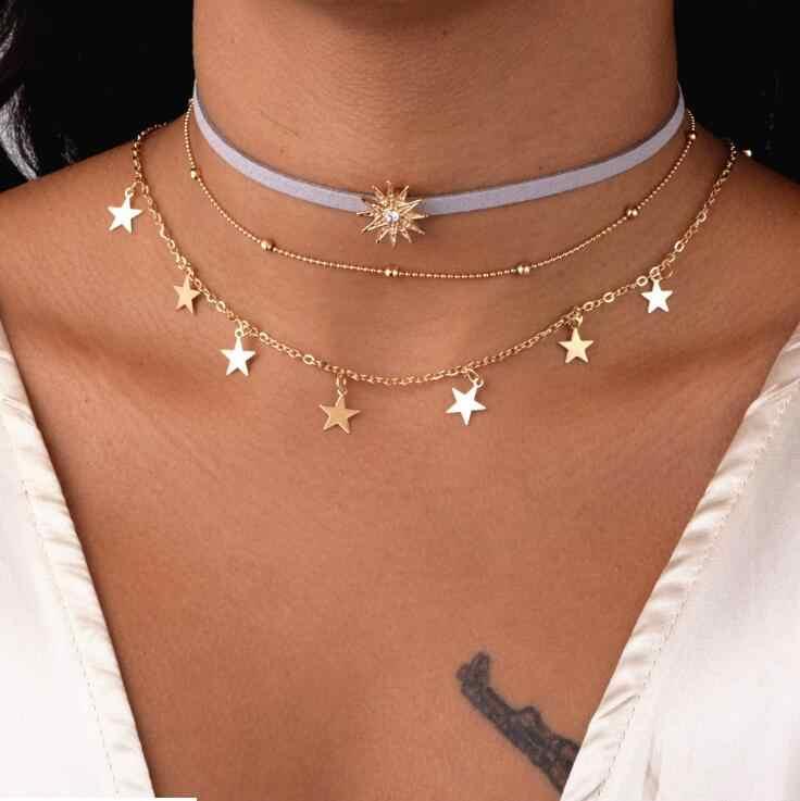 Hot 3 sztuk złoty kolor aksamitna choker kryształowy naszyjnik dla kobiet gwiazdy Tassel wisiorek łańcuch naszyjniki Chokers biżuteria