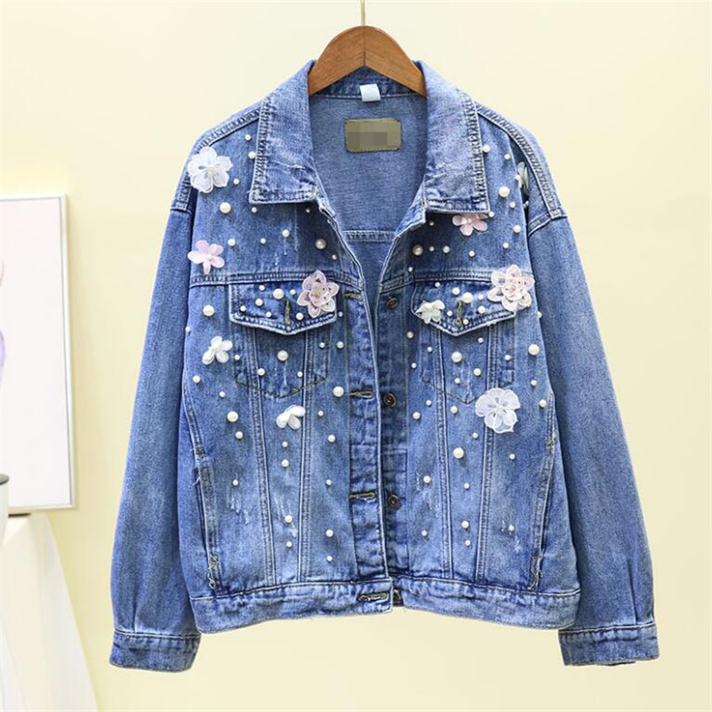 2019 Harajuku Women denim   Jackets   fashion 3D Flower Pearls beaded Long Sleeve Jeans Coat women   basic     jacket   r1082