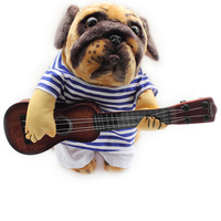 Armiストア面白いギター変容犬シャツ夏ストライプシャツ犬6171007ペット服用品ml xl