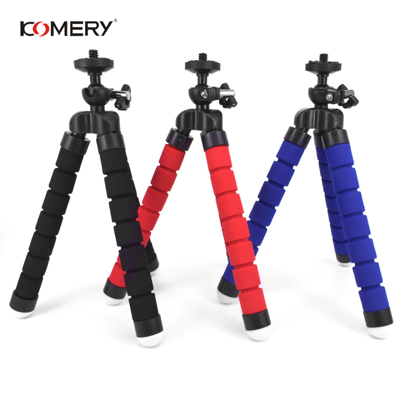 KOMERY Mini Flexible Sponge Octopus Tripod For iPhone Xiaomi Huawei Smartphone Tripod for Gopro Camera With Phone Clip Holder-in Live Tripods from Consumer Electronics