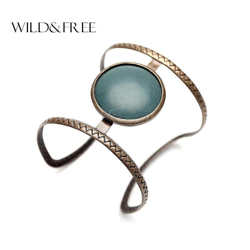 Vintage Boho Ethnic Simulated Big Stone Open Cuff Bangles For Women Fashion Statement Open Infinity Bracelets India Jewelry Gift
