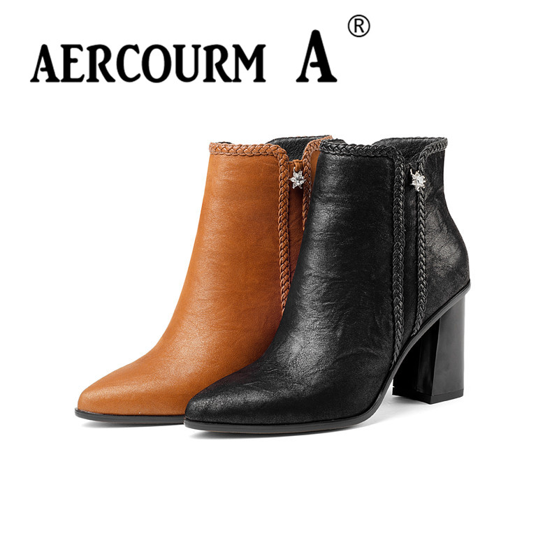 Aercourm A 2017 Women Cowhide Ankle Shoes High Quality Genuine Leather Short Plush Boots Handmade Boots Winter Zipper Boots Z948