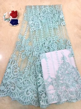 Nigerian Lace Fabric 2019 High Quality African Tulle Lace Fabric With Sequins French Net Lace For Wedding Dress New X11