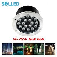 SOLLED 18W IP67 Super Beauty LED Buried Light Circular Underground Landscape Lamp Path Way Garden Lawn Decoration