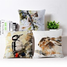 2017 wholesale animal kingfisher goose leopard rabbit high quality Fashion Decorative Cushion cover For Sofa Home or car