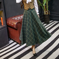 2016 Mujeres falda Otoño Invierno Vinatge Retro de Cintura Alta Faldas A Cuadros Verde