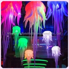 New attractive oxford inflatable jellyfish balloon with bright RGB led lights inflatable medusa for wedding stage decoration new colorful lighting inflatable jellyfish balloon for decoration