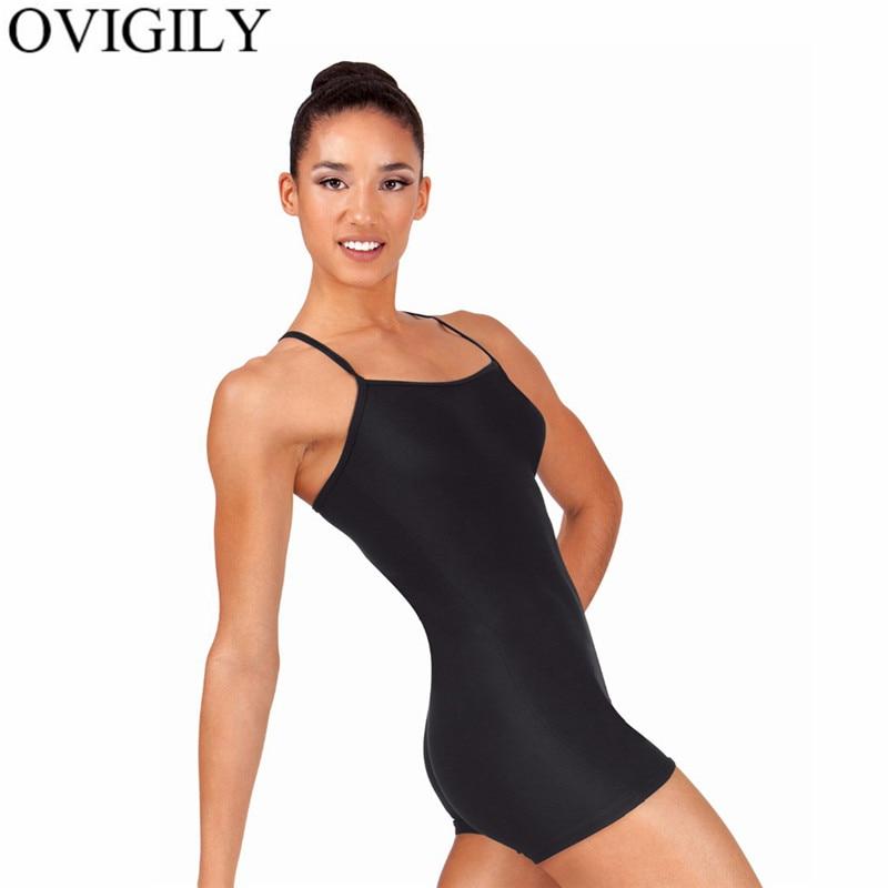 OVIGILY Adult Y-Back Camisole Biketard For Girls Gymnastics Leotards Black Spandex Lycra Dance Wear Women Ballet Short Unitards