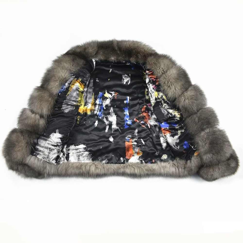 2018 женские Взрывные модели новый натуральный Лисий мех Повседневная джинсовая куртка теплая мода европейский и американский уличный стиль