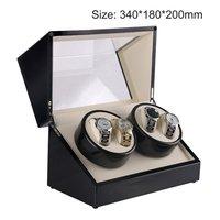 роскошные заводчик для часов с штепсельная вилка сша 4 слота деревянные часы шкатулка для часов намотки коробка лак повернуть бесшумное двигатель дисплей часы коробка