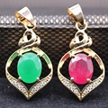 4Colors Women's Fashion Natural Gem Red Zircon Green AAA Zircon Gold Plated  Pendant Necklace Christmas Gift