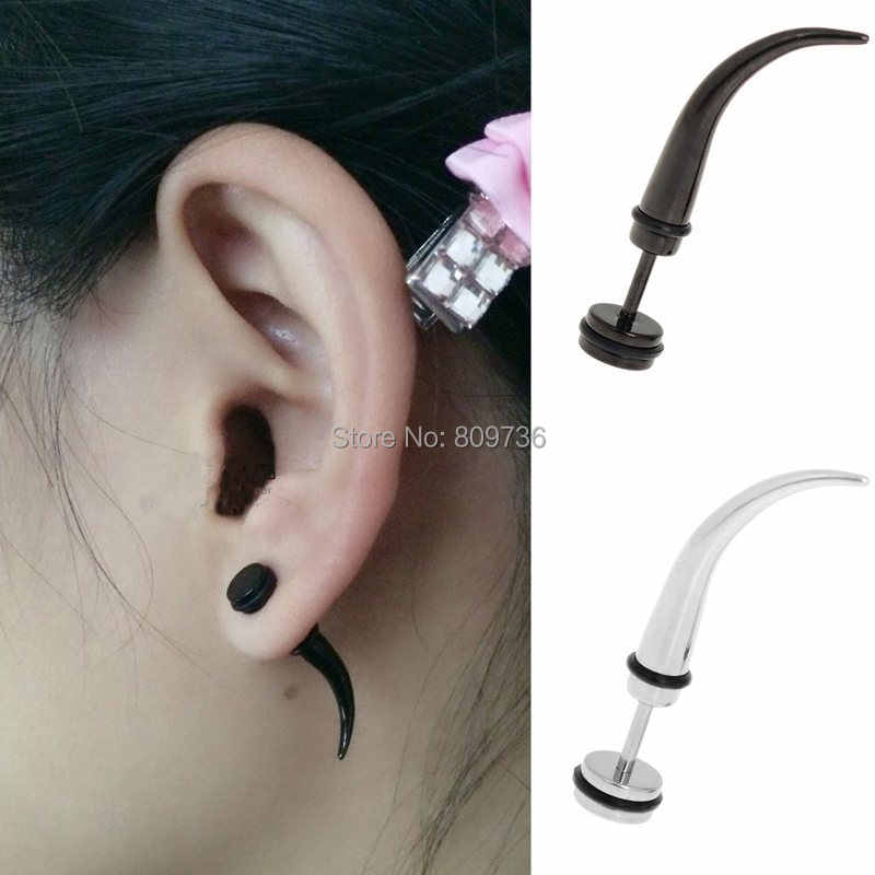 aad24bbdc 1PC Mens Punk Ear Taper Spike Stainless Steel Fake Cheater Ear Tunnels Plug  Earrings NEW Chic
