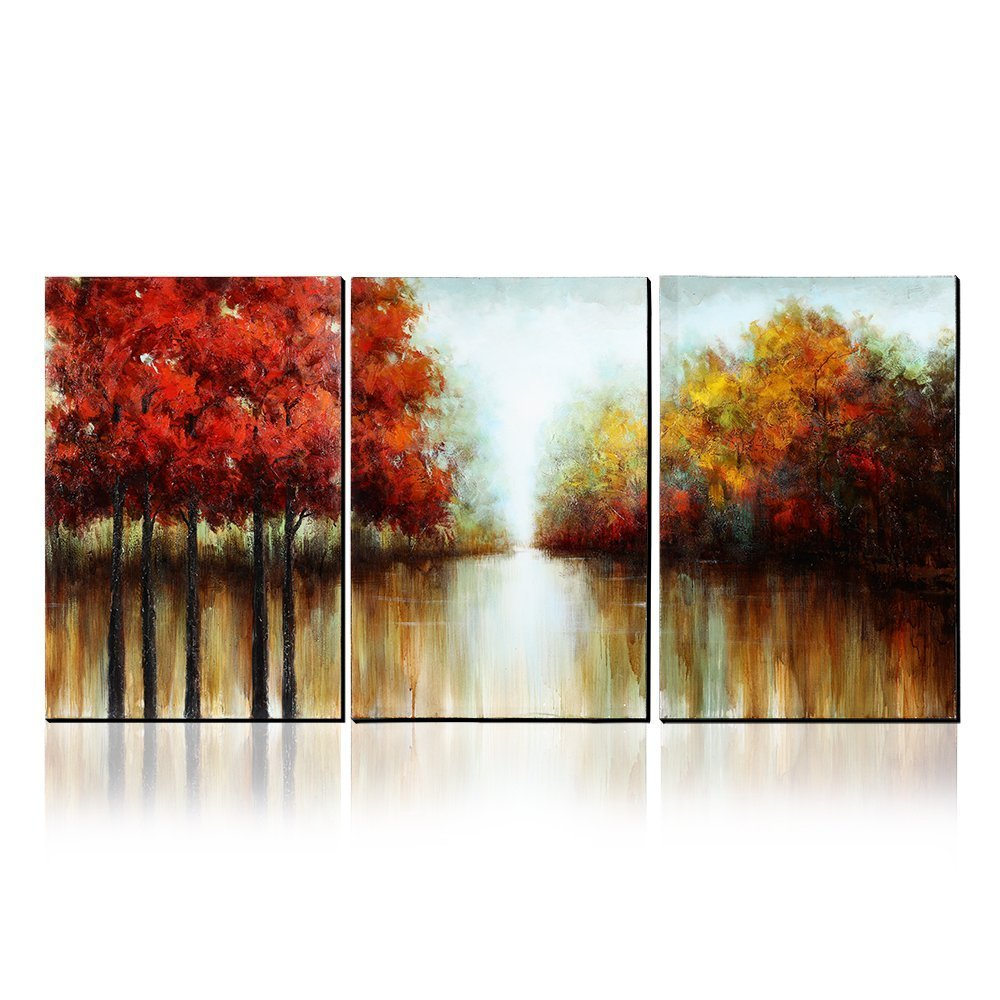 100% Hand-Painted Autumn Scenery Trees Landscape Southwest Panel Wall Art Oil Paintings On Canvas Paintings Home Decor 3 Pieces