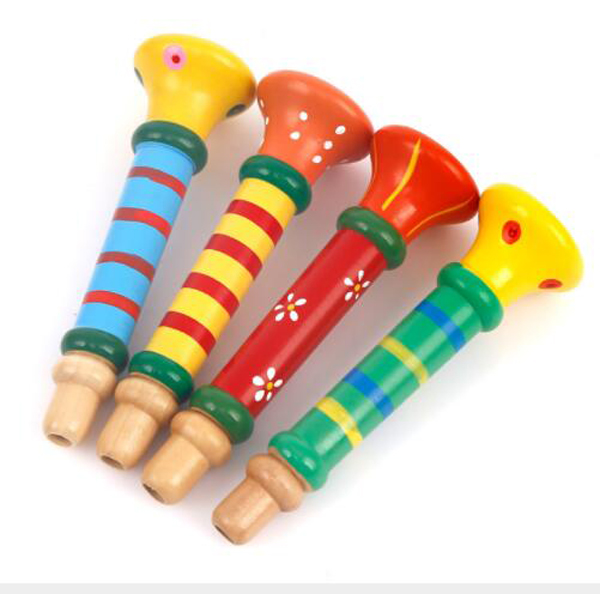 Free Ship Cheap Fine Pc Toddler Wooden Musical Instrument Toy Trumpet For Kids Noise Maker Percussion Music Early Education In Toy Musical Instrument From