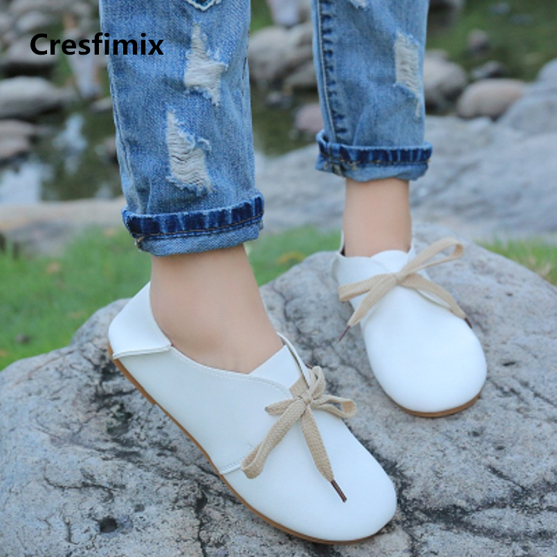Cresfimix women fashion soft comfortable pu leather flat shoes lady cute lace up brown flats female spring summer shoes a504 4pcs carpenters screw