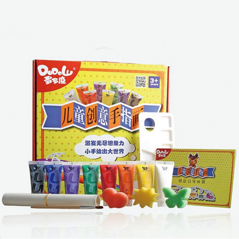 8 Colors Children DIY Finger Painting Learning Craft Set Washable Cartoon Kid Colorful Drawing Education Picture Scrawl Toy