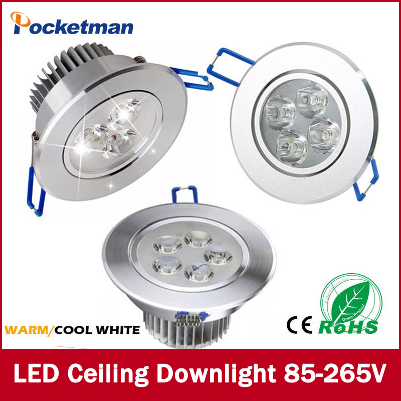 1Pcs 9W 12W 15W AC85V-265V 110V / 220V LED Ceiling Downlight Recessed LED Wall lamp Spot light With LED Driver For Home Lighting