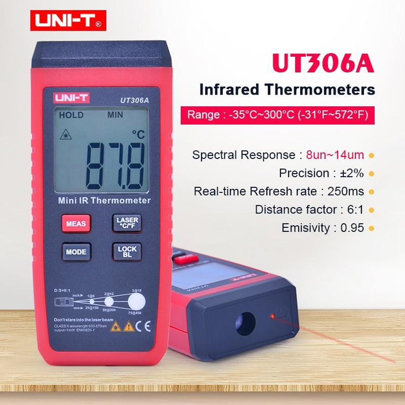 UNI-T UT306A Mini thermomètre infrarouge-35 ~ 300C-31 ~ 572F testeur de température IR numérique avec maintien des données et écran rétroéclairé LCD