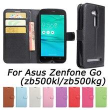 Para asus zenfone go zb500kl zb500kg pu capa de couro de volta case para asus zenfone go zb500kl case flip tampa do telefone de proteção case