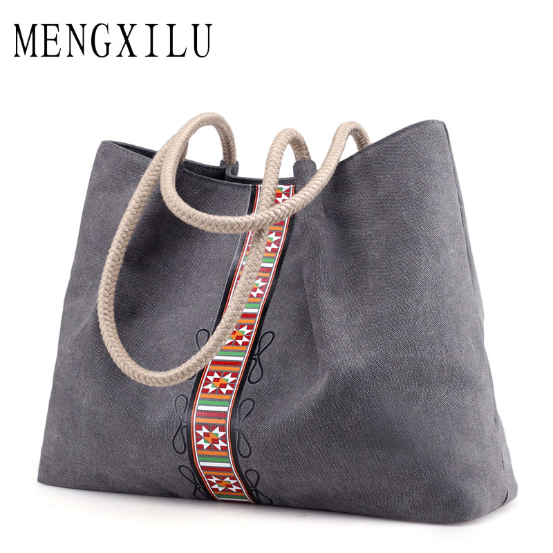 Big Women Canvas Bag Ladies Shoulder Bags Female Luxury Handbags Women Bags Designer Karst National Style Original Sac A Main 2017 summer fashion canvas bag luxury handbags women bags designer shoulder canvas bag printed white women shopping bag
