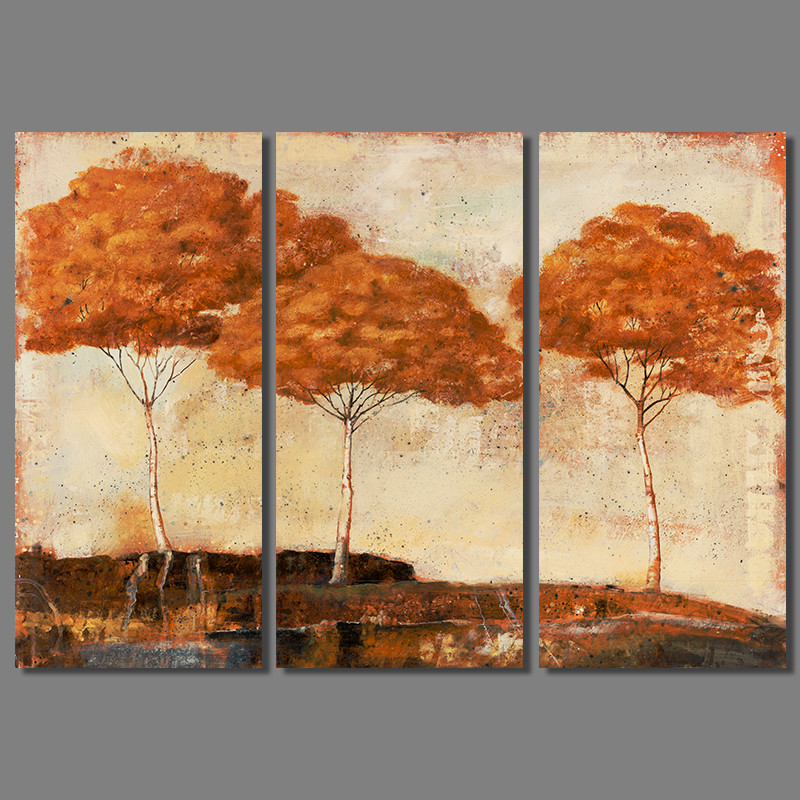 Retro Fashion trees 3pcs/set decoration orange trees Canvas Painting wall Art for living room kids printed decor unframed