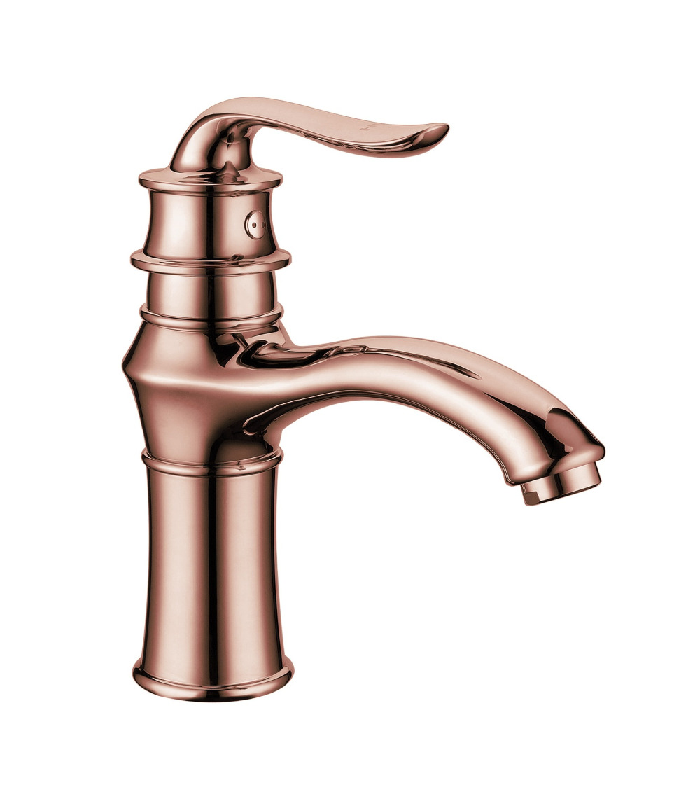 Rose golden finish basin faucet with single lever solid brass ...