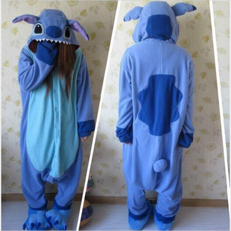 2019 Stitch Pajamas Anime Animal Blue lilo Stitch Pajamas For Adult Unisex Onesie Polyester Polar Fleece