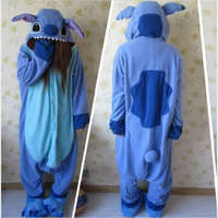 2016 Stitch Pajamas Anime Animal Blue Lilo Stitch Pajamas For Adult Unisex Onesie Polyester Polar Fleece