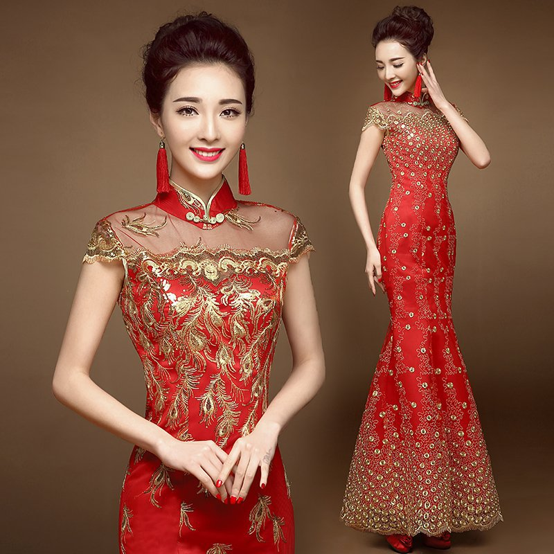 Qipao Wedding Gown: Chinese Traditional Dress Long Cheongsam Chinese Wedding