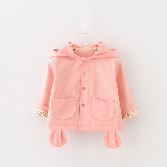 spring autumn coat baby girls Cotton cartoon puppy solid color windbreaker jacket children's clothing brand free shipping 1-4 T