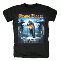 Bloodhoof The Clans Will Rise Again Grave Digger cover men'sblack heavy metal cotton T Shirt Asian Size
