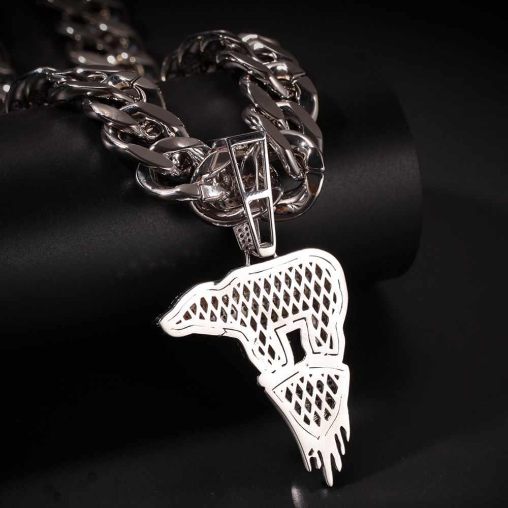 UWIN biały złoty kolor lodowiec niedźwiedź polarny wisiorek naszyjnik moda hip hop z 20mm Miami kubański Link łańcuchy Iced Out CZ biżuteria