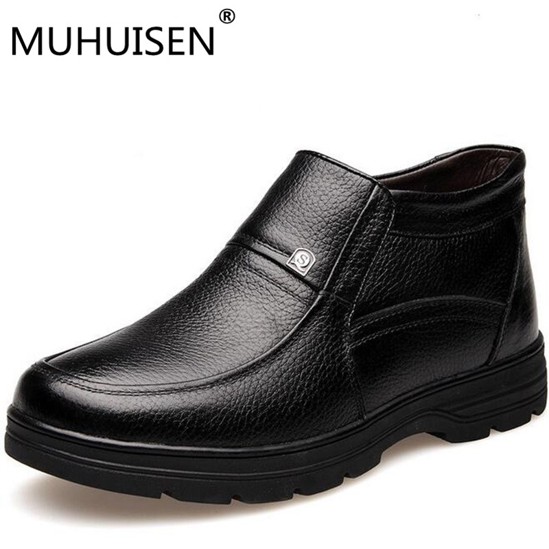 HUHUISEN New Handmade Men Genuine Leather Winter Boots High Quality Snow Men Boots Ankle Boots For Men Plus size 38-48 dekabr 2018 new handmade men genuine leather winter boots high quality snow men boots ankle boots for men plus big size 36 47