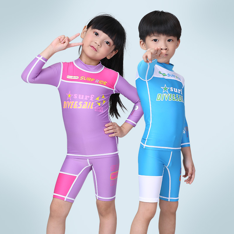 New Children's Diving Suit Boys Girls Long Sleeved Swimsuit Swimming Trunks Split Sunscreen Suits Surfing Suits.