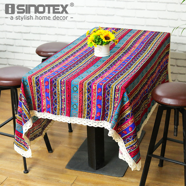 Linenu0026Cotton Table Cloth Table Cover Decor Rustic Tablecloth Handmade  Stripes Printed Woven Home Party Dining Room