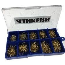 500X #3~12 Bronze Golden Lot Stainless Steel Fishing Hooks In Plastic Box Freshwater Fishhook Carbon Hook