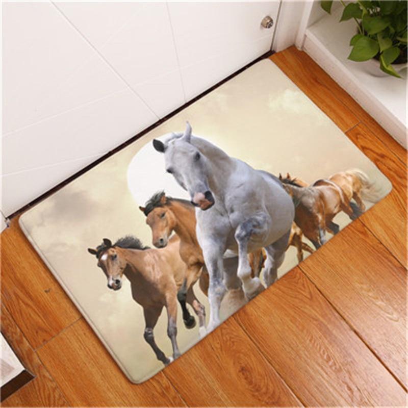 New  Anti-Slip Carpets  Horse Print  Mats  Bathroom  Floor  Kitchen  Rugs  40X60  50X80 cm