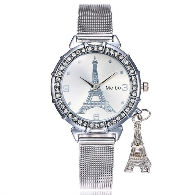 2018 New Fashion Silver Gold Mesh Band Eiffel Tower Watches Casual Women Metal Stainless Steel Tower Pendant Quartz Watches eiffel tower style stainless steel bottle opener silver