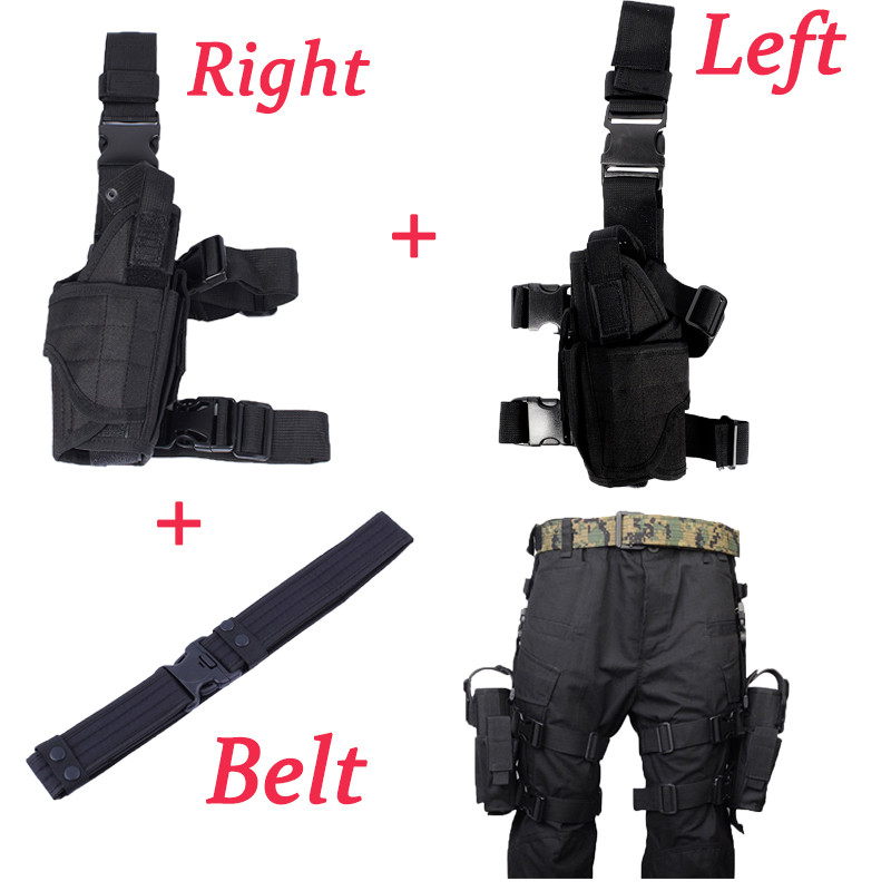 Military Pistol Drop Leg Thigh Holster Left/Right With Belt Hand Gun Quick Release Magazine Pouch free shipping 1pcs beon half helmet motorcycle popular harley style motorbike vintage helmets abs dot approved motorcycle helmet