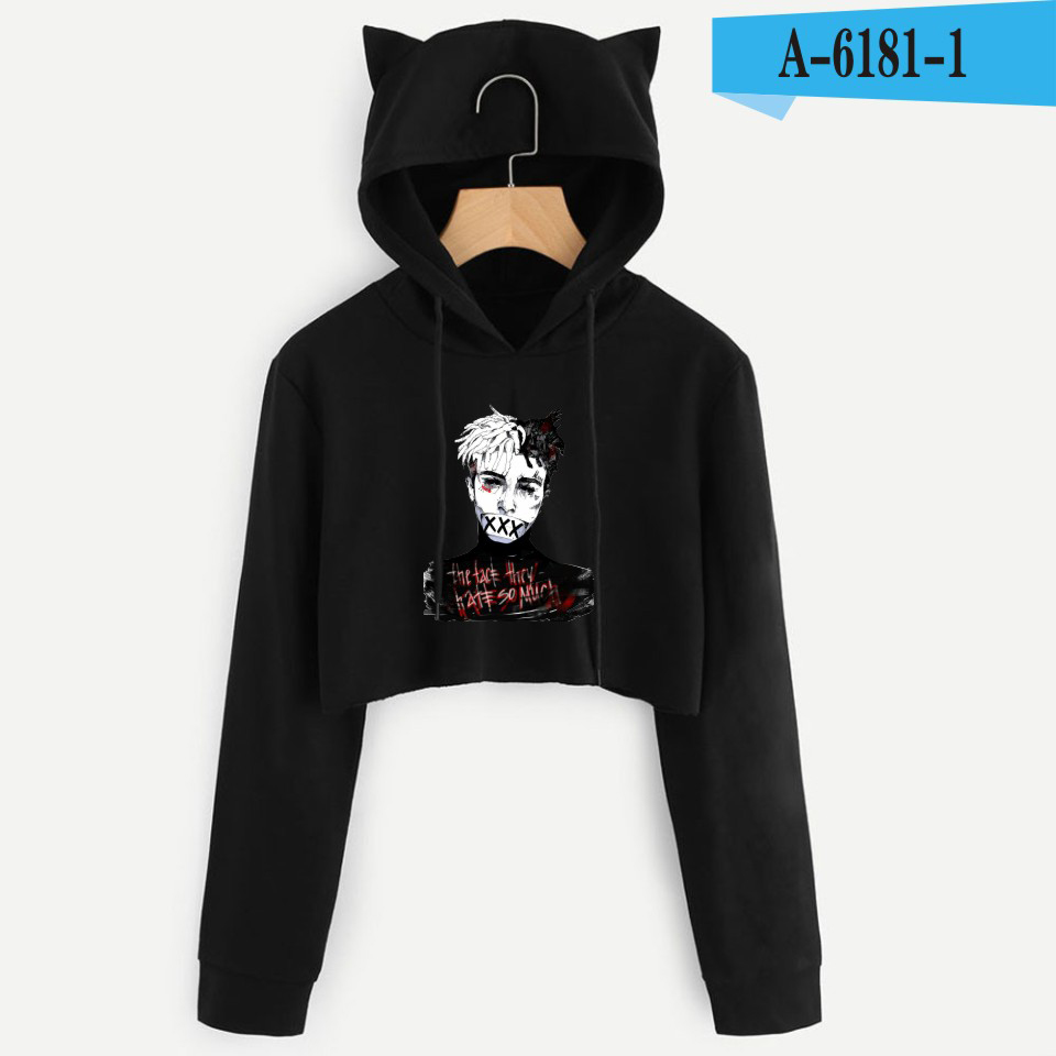 Personality Girl Cat Ears Umbilical Hoodie Fashion Sweatshirt Sweater Black