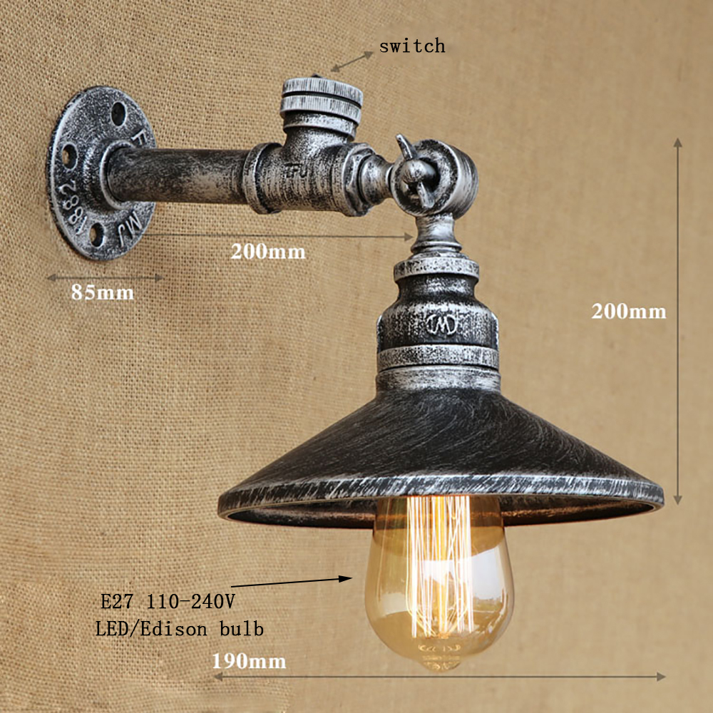ФОТО 12 123 4 color Industrial loft iron rust Water pipe retro wall lamp Vintage e27 sconce lights with switch for bedroom restaurant