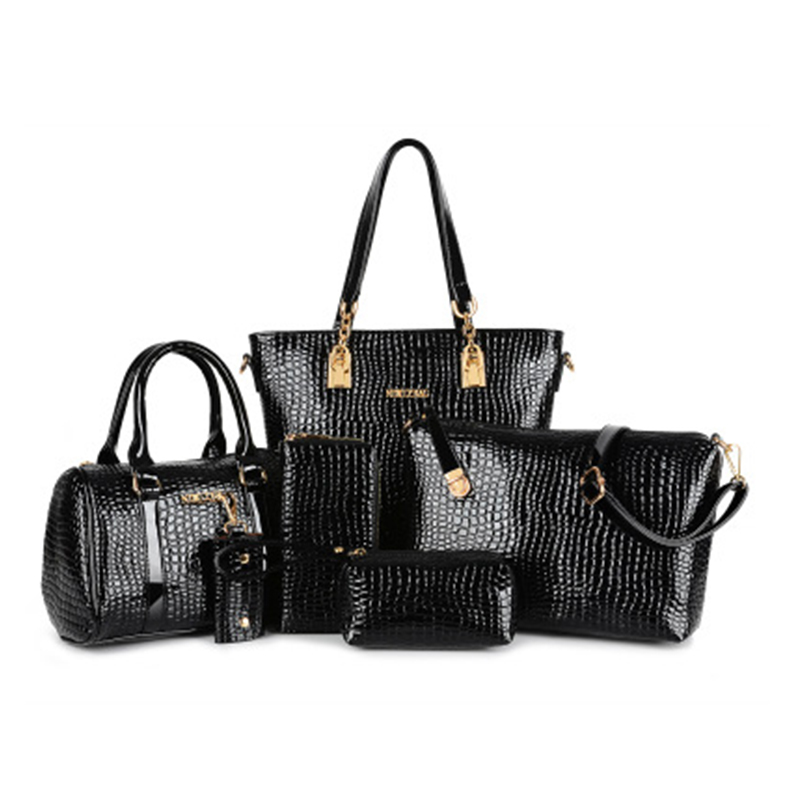6 PCS/Set Women Handbag Crocodile Pattern Composite Bag Women Messenger Bags Shoulder bag Purse Wallet PU Leather Handbags 2015 european and american brand women handbag shoulder bag crocodile pattern handbag handbag messenger bag rse wallet 6 sets