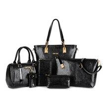 6 PCS Set Women Handbag Crocodile Pattern Composite Bag Women Messenger Bags Shoulder bag Purse Wallet