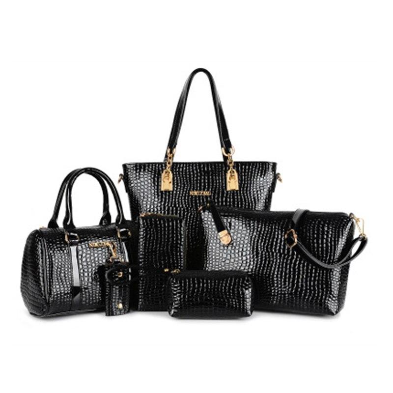 6 PCS font b Set b font Women font b Handbag b font Crocodile Pattern Composite