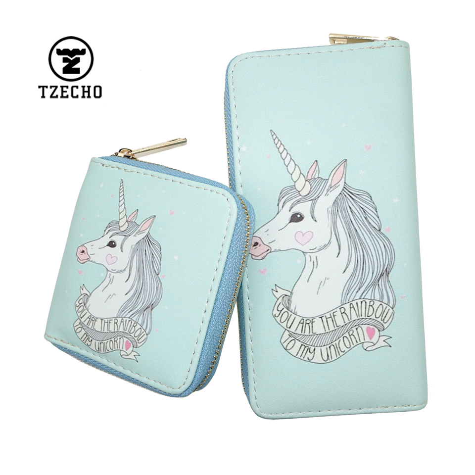 TZECHO Zipper Around Women Wallet With Phone PU Cartoon Unicorn Clutch Purses Small Rfid Credit Cards Holder Long Ladies Wallets tzecho women wallets long zipper wallet for women with phone pu walet skull head ladies clutch purses rfid credit cards holder
