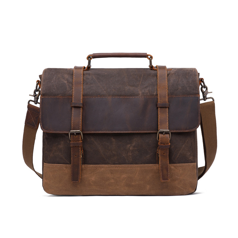 Canvas Genuine Leather Business Briefcase Men Office Tote Handbags 15.6 Laptop Messenger Bags For Male Shoulder Bag Purse