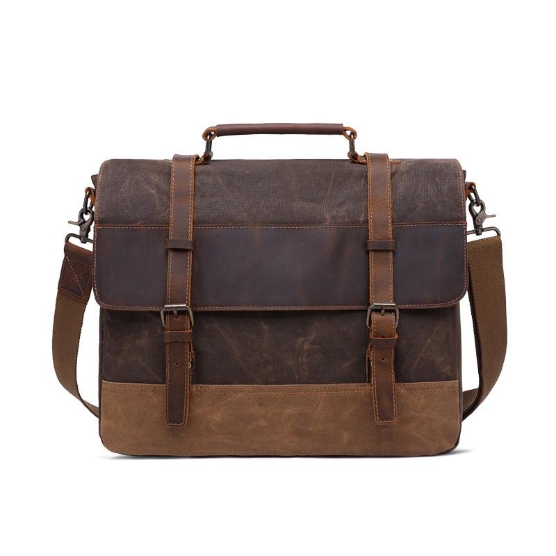 Canvas Genuine Leather Business Briefcase Men Office Tote Handbags 15.6 Laptop Messenger Bags For Male Shoulder Bag Purse