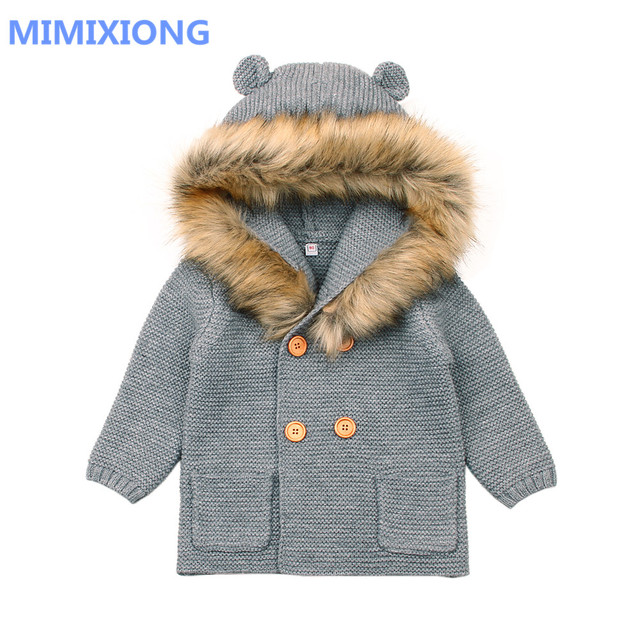 897de6fcb6f6 Newborn Baby Sweaters Cardigans Autumn Grey Long Sleeve Toddler Boys ...