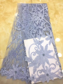 African Lace Fabric with Sequins Embroidered Nigerian Laces Fabric Bridal High Quality French Tulle Lace Fabric for Women