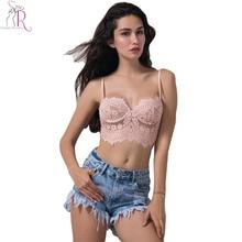 5 Colors Lace Floral Crochet Eyelash Spaghetti Strap Slim Bralette Camis Crop Top Sexy Vest Beachwear Light Pink Blue 2017 Women